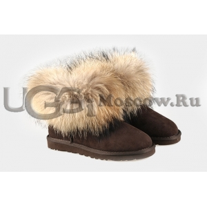 UGG Women With Fox Fur mini - Chocolate