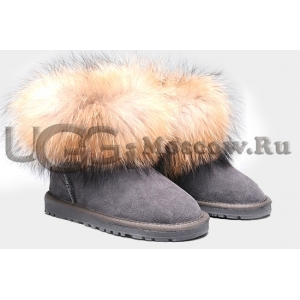 UGG Women With Fox Fur mini - Grey
