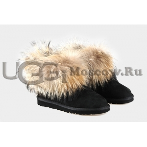 UGG Women With Fox Fur mini - Black