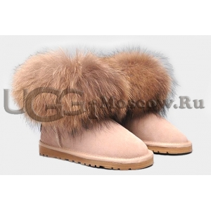 UGG Women With Fox Fur mini - Sand
