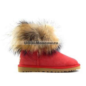 UGG Women With Fox Fur mini - Red