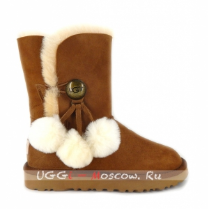 Ugg Women Bailey Button POM - Chestnut