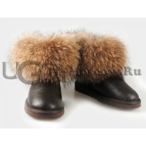 UGG Women With Fox Fur Metallic mini - Chocolate