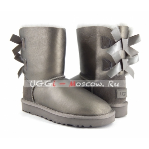 Ugg Women Bailey Bow II Short Metallic - Pewter