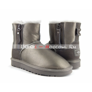 Ugg Women Mini Double Zip II Metallic - Pewter