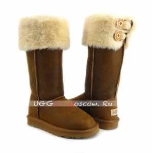 Ugg Boots Over The Knee Bailey Button II Bomber - Chestnut