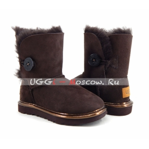 Ugg Kids Bailey Button II Suede Metallic - Chocolate