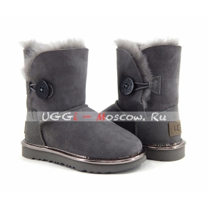 Ugg Kids Bailey Button II Suede Metallic - Grey
