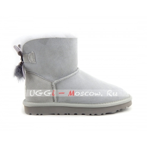 Ugg Mini Bailey Bow Fur Brush Boot - Grey Violet