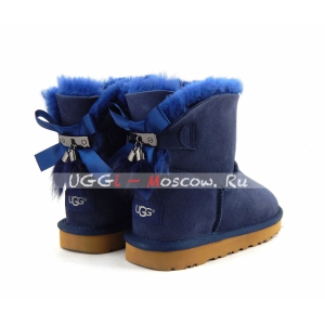 Ugg Mini Bailey Bow Fur Brush Boot - Navy