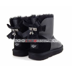Ugg Mini Bailey Bow Fur Brush Metallic Boot - Black