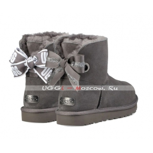 Ugg Bailey Bow Mini CUSTOMIZABLE Boot - Charcoal