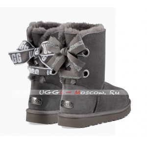 Ugg Bailey Bow Short CUSTOMIZABLE Boot - Charcoal
