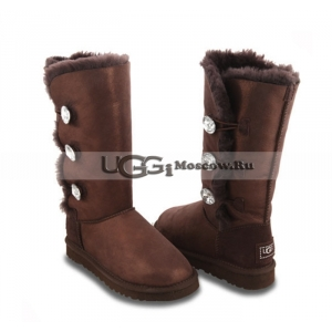 UGG Women Bailey Button Triplet Glitter Bling - Chocolate