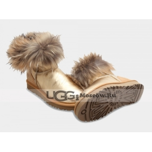 UGG Women With Fox Fur Metallic mini - Gold