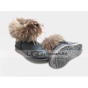 UGG Women With Fox Fur Metallic mini - Grey