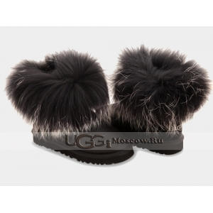 UGG Women With Silver Fur Metallic mini - Black