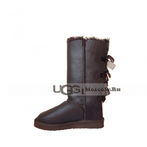 Ugg Women Bailey Bow Metallic Tall - Chocolate