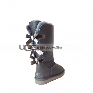Ugg Women Bailey Bow Metallic Tall - Grey