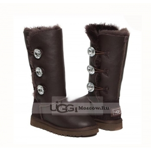 UGG Women Bailey Bling Tall Metallic - Chocolate